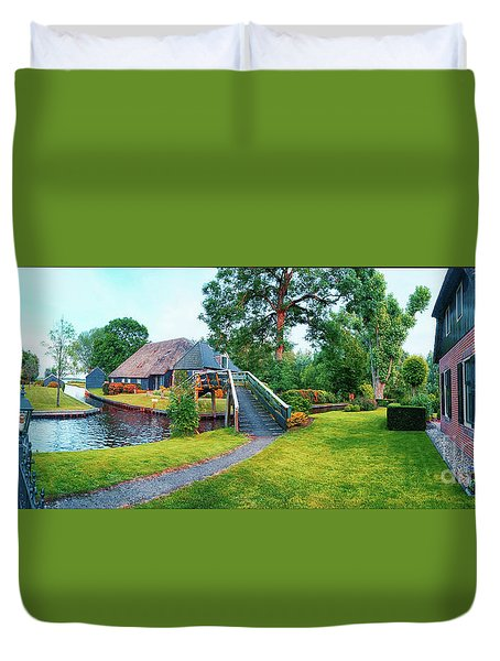 Duvet Cover featuring the photograph Summer Panorama Of  Dutch Village by Ariadna De Raadt