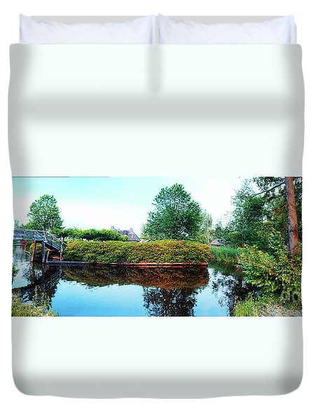 Duvet Cover featuring the photograph Summer Panorama Of  In Old Dutch Village by Ariadna De Raadt