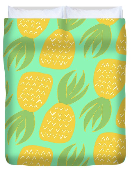 Summer Pineapples Duvet Cover by Allyson Johnson