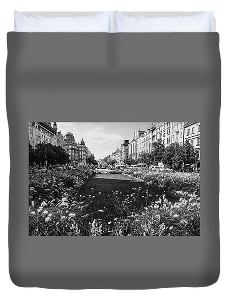 Duvet Cover featuring the photograph Summer Prague. Black And White by Jenny Rainbow