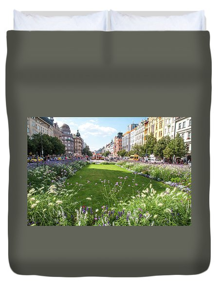 Duvet Cover featuring the photograph Summer Prague by Jenny Rainbow