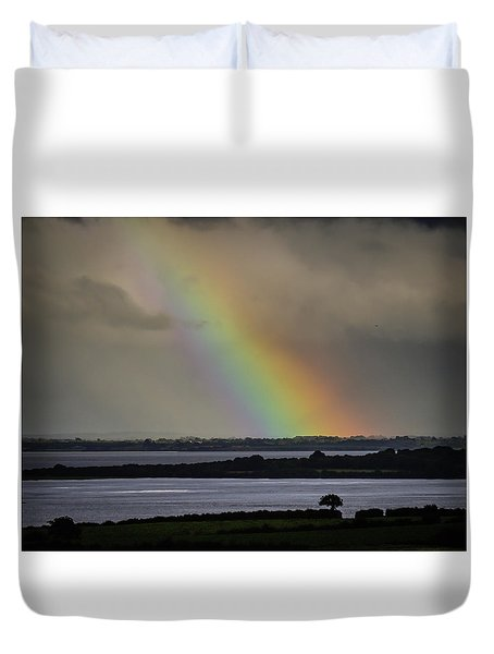 Duvet Cover featuring the photograph Summer Rainbow Over Shannon Estuary by James Truett