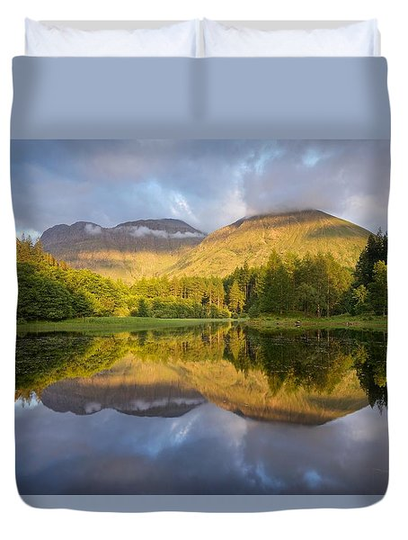 Summer Reflections At The Torren Lochan Duvet Cover