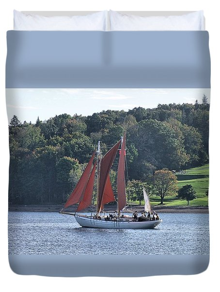 Summer Sailing In Lunenburg Duvet Cover