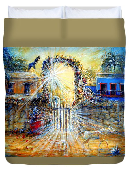 Duvet Cover featuring the painting Summer Sanity II by Heather Calderon