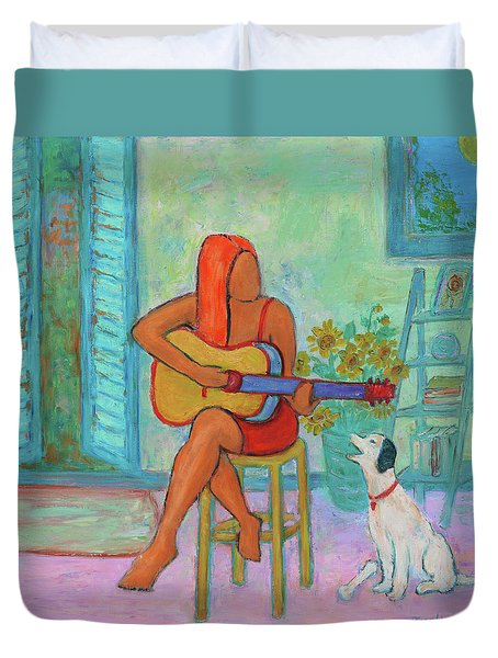 Duvet Cover featuring the painting Summer Serenade II by Xueling Zou