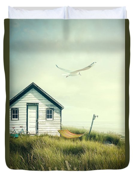 Summer Shack With Hammock By The Ocean Duvet Cover by Sandra Cunningham