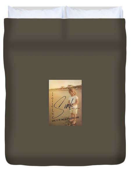 Summer Smile Quote Duvet Cover by JAMART Photography