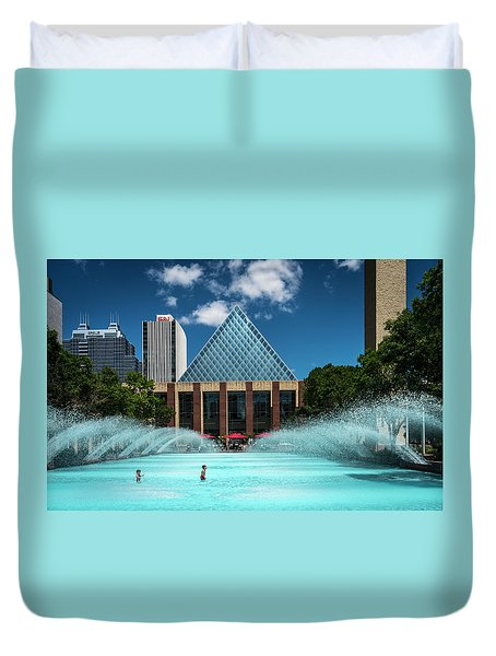 Duvet Cover featuring the photograph Summer Splash Downtown Edmonton by Darcy Michaelchuk