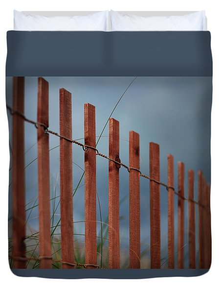 Duvet Cover featuring the photograph Summer Storm Beach Fence by Laura Fasulo