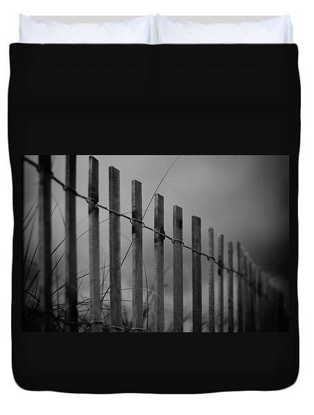 Duvet Cover featuring the photograph Summer Storm Beach Fence Mono by Laura Fasulo