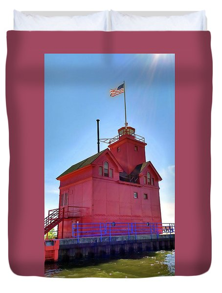 Duvet Cover featuring the photograph Summer Sun And Big Red by Michelle Calkins