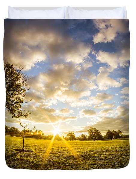 Summer Sunrise Across Delware Park Meadow Duvet Cover