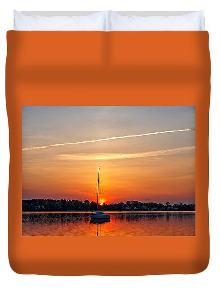 Summer Sunset At Anchor Duvet Cover