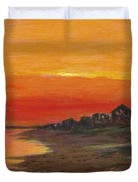 Summer Sunset At  Crystal Beach Duvet Cover