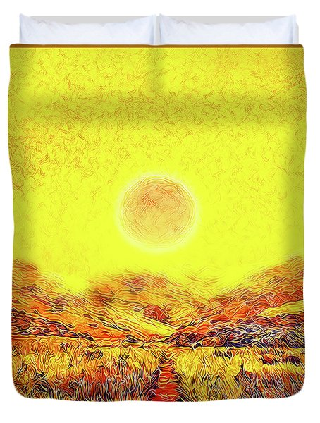 Duvet Cover featuring the digital art Summer Sunset Field - Trail In Marin California by Joel Bruce Wallach