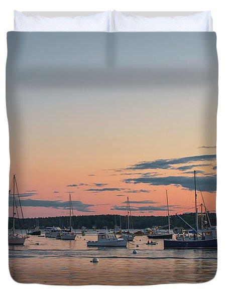 Summer Sunset In Boothbay Harbor Duvet Cover