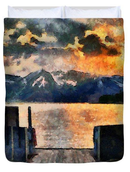 Summer Sunset On Colter Bay Duvet Cover