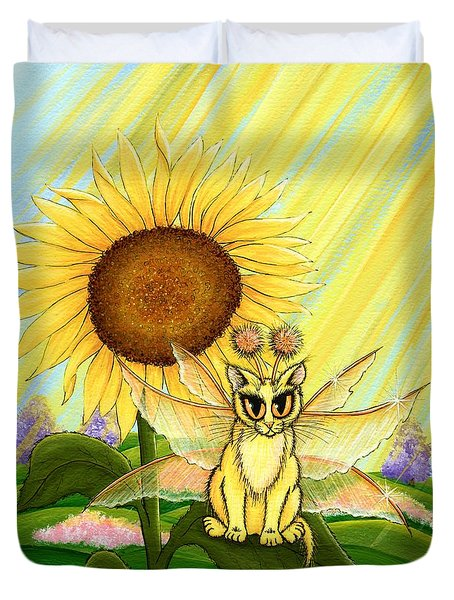 Duvet Cover featuring the painting Summer Sunshine Fairy Cat by Carrie Hawks