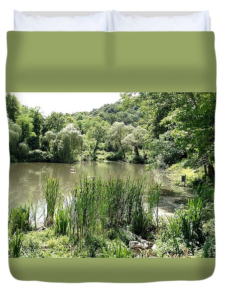 Duvet Cover featuring the painting Summer Swamp by James Guentner