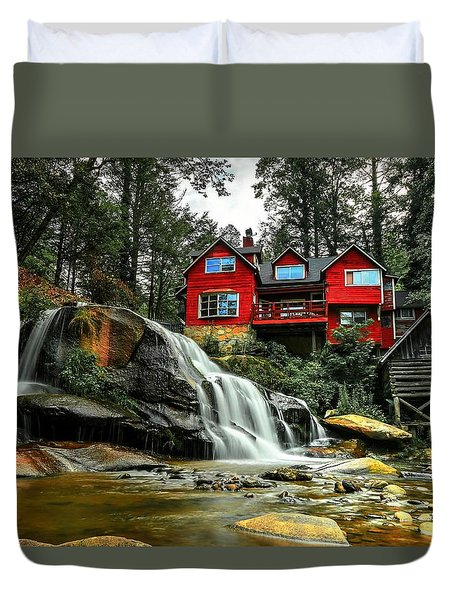 Summer Time At Living Waters Ministry And Shoals Creek Falls Duvet Cover