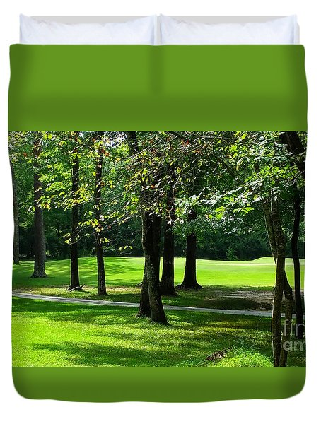 Duvet Cover featuring the photograph Summer Walk by Geraldine DeBoer