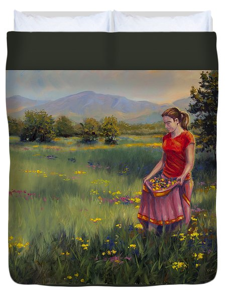 Duvet Cover featuring the painting Summers Bounty by Kurt Jacobson