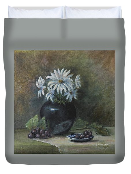 Duvet Cover featuring the painting Summer's Delight by Katalin Luczay