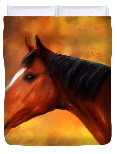 Summers End Quarter Horse Painting Duvet Cover