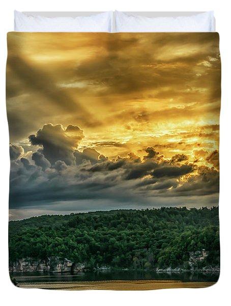 Summersville Lake Sunrise Duvet Cover