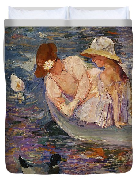 Duvet Cover featuring the painting Summertime By Mary Cassatt 1894 by Movie Poster Prints