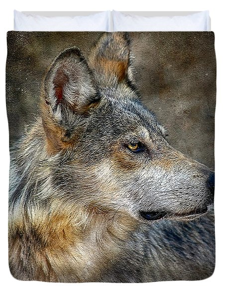 Summertime Coated Wolf Duvet Cover