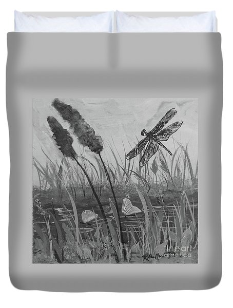 Duvet Cover featuring the painting Summertime Dragonfly Black And White by Robin Maria Pedrero
