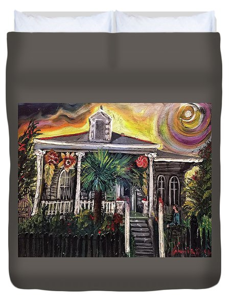 Duvet Cover featuring the painting Summertime New Orleans by Amzie Adams