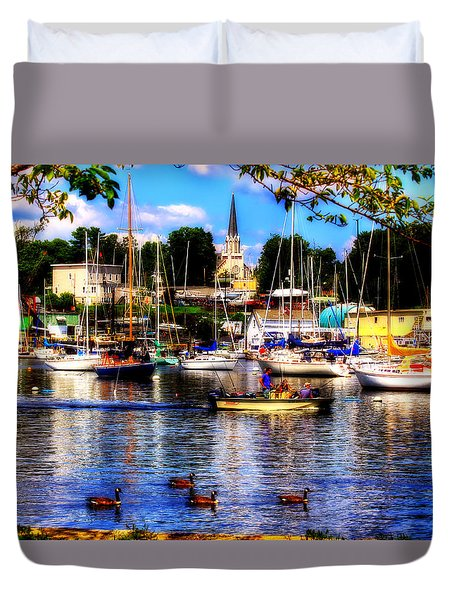 Summertime On The Harbor Duvet Cover