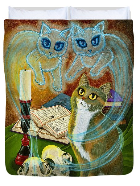 Summoning Old Friends - Ghost Cats Magic Duvet Cover