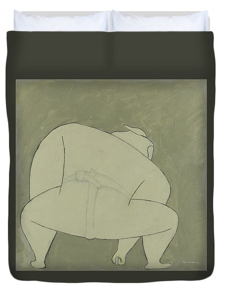 Duvet Cover featuring the painting Sumo Wrestler by Ben Gertsberg