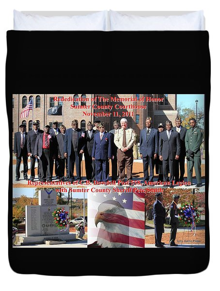 Duvet Cover featuring the photograph Sumter County Memorial Of Honor by Jerry Battle