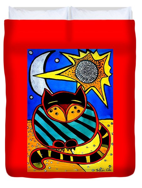 Sun And Moon - Honourable Cat - Art By Dora Hathazi Mendes Duvet Cover