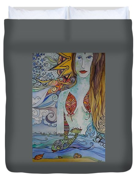 Sun And Sea Godess Duvet Cover by Claudia Cole Meek