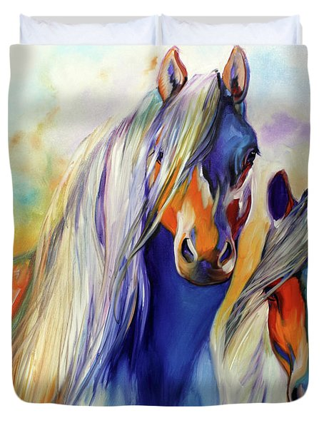 Sun And Shadow Equine Abstract Duvet Cover