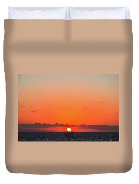 Sun Balancing On The Horizon Duvet Cover