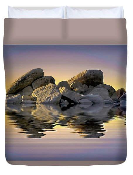 Sun Bathed Rocks Duvet Cover