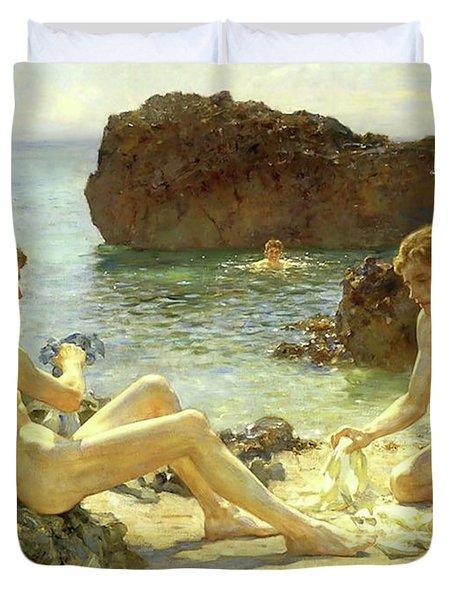 Sun Bathers Duvet Cover by Henry Scott Tuke