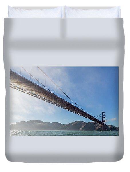 Sun Beams Through The Golden Gate Duvet Cover by Scott Campbell