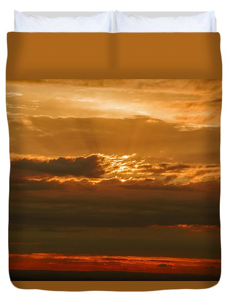 Sun Behind Dark Clouds In Vogelsberg Duvet Cover
