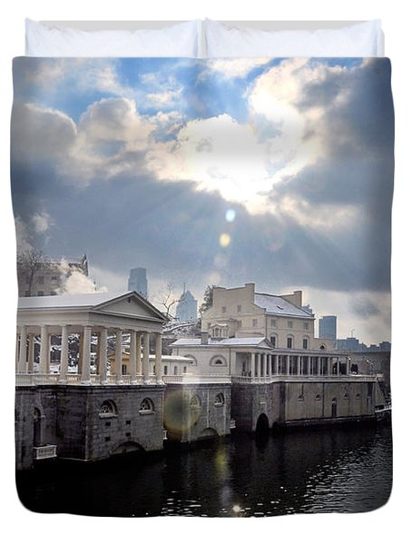 Sun Burst Over The Fairmount Water Works Duvet Cover by Bill Cannon