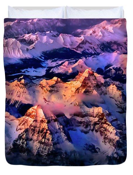 Duvet Cover featuring the photograph Sun Catcher - Assiniboine by John Poon