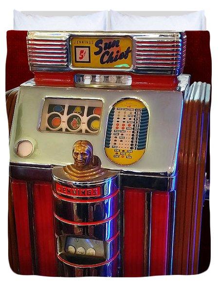 Sun Chief Vintage Slot Machine Duvet Cover