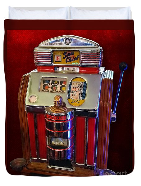 Sun Chief Vintage Slot Machine Duvet Cover by Gregory Dyer